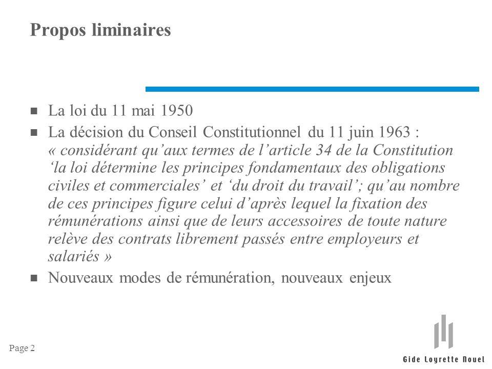 Page 2 Propos liminaires n La loi du 11 mai 1950 n La décision du Conseil Constitutionnel du 11 juin 1963 : « considérant qu'aux termes de l'article 3