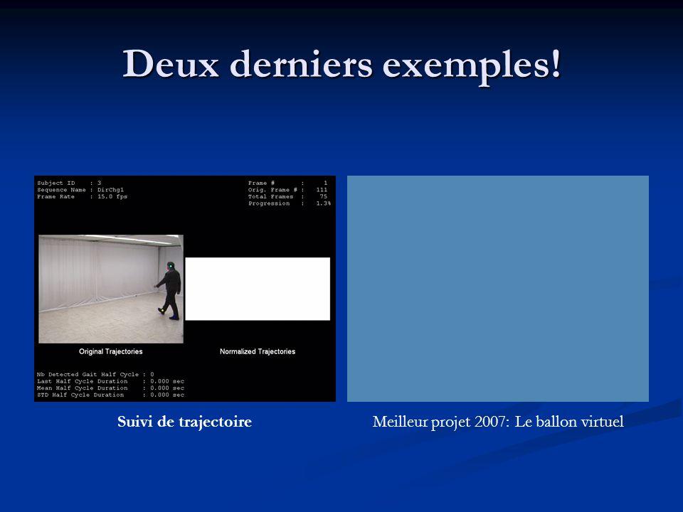 Deux derniers exemples! Suivi de trajectoireMeilleur projet 2007: Le ballon virtuel