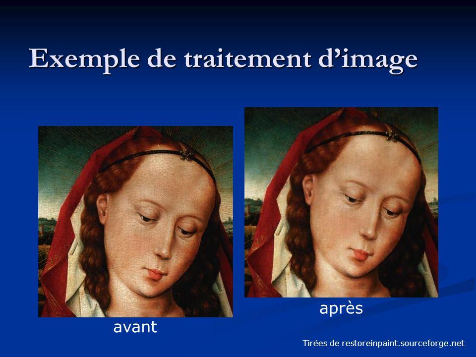 Exemple de traitement d'image Tirées de restoreinpaint.sourceforge.net avant après