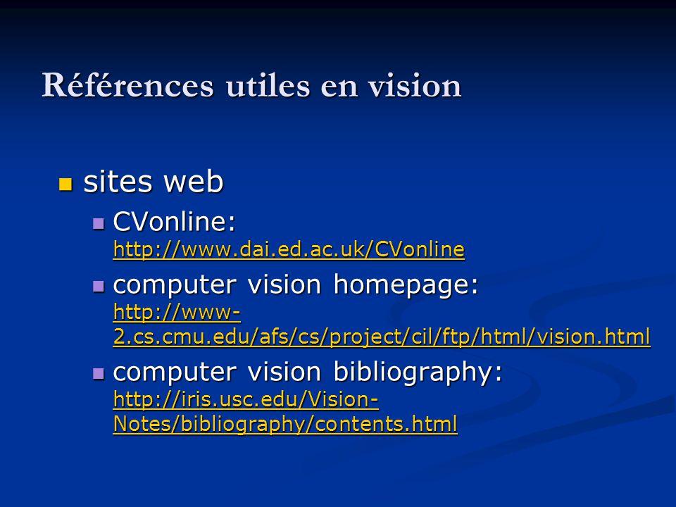 Références utiles en vision sites web sites web CVonline: http://www.dai.ed.ac.uk/CVonline CVonline: http://www.dai.ed.ac.uk/CVonline http://www.dai.e