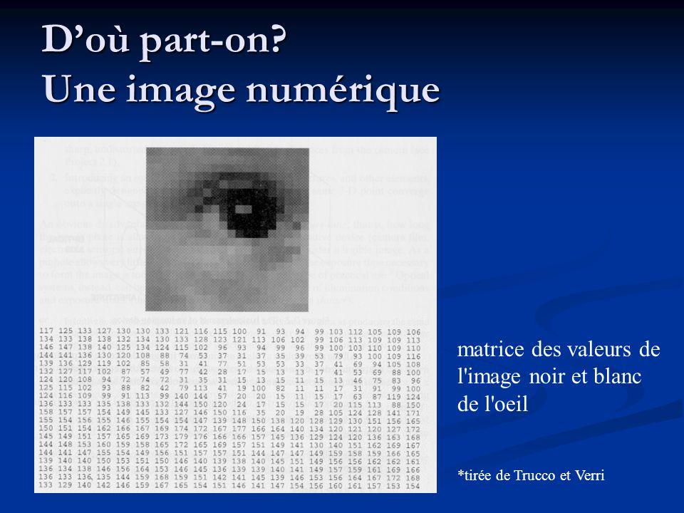D'où part-on? Une image numérique *tirée de Trucco et Verri matrice des valeurs de l'image noir et blanc de l'oeil