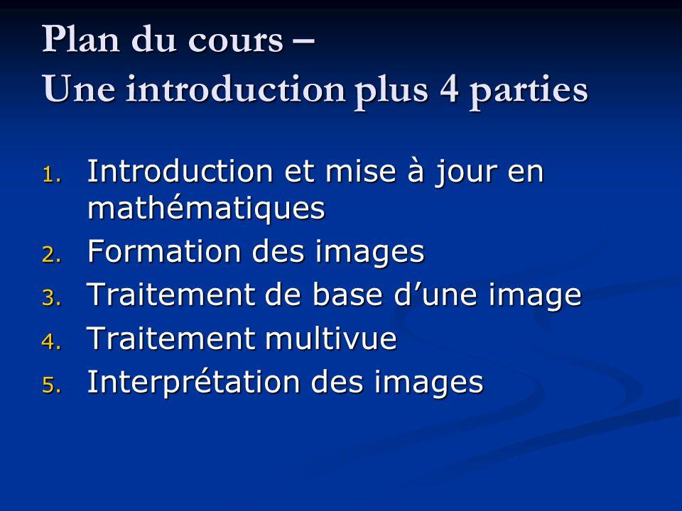 Plan du cours – Une introduction plus 4 parties 1. Introduction et mise à jour en mathématiques 2. Formation des images 3. Traitement de base d'une im