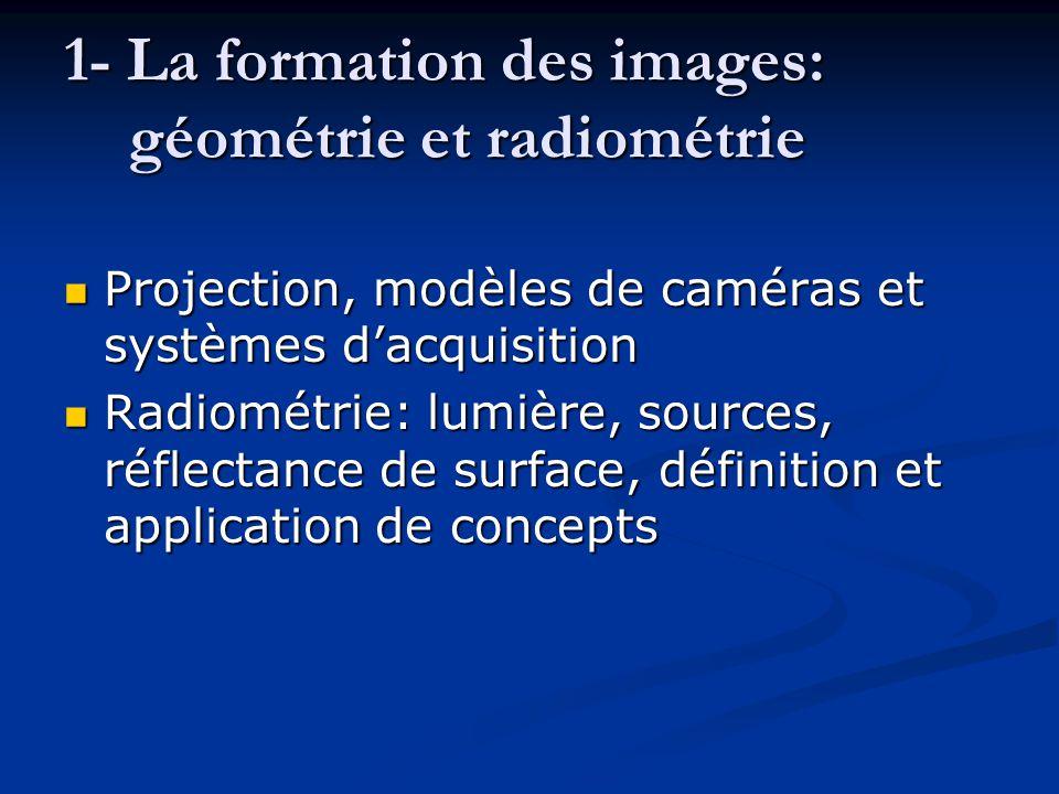 1- La formation des images: géométrie et radiométrie Projection, modèles de caméras et systèmes d'acquisition Projection, modèles de caméras et systèm