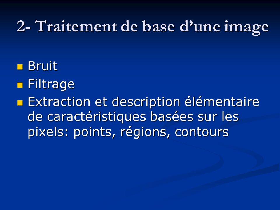 2- Traitement de base d'une image Bruit Bruit Filtrage Filtrage Extraction et description élémentaire de caractéristiques basées sur les pixels: point