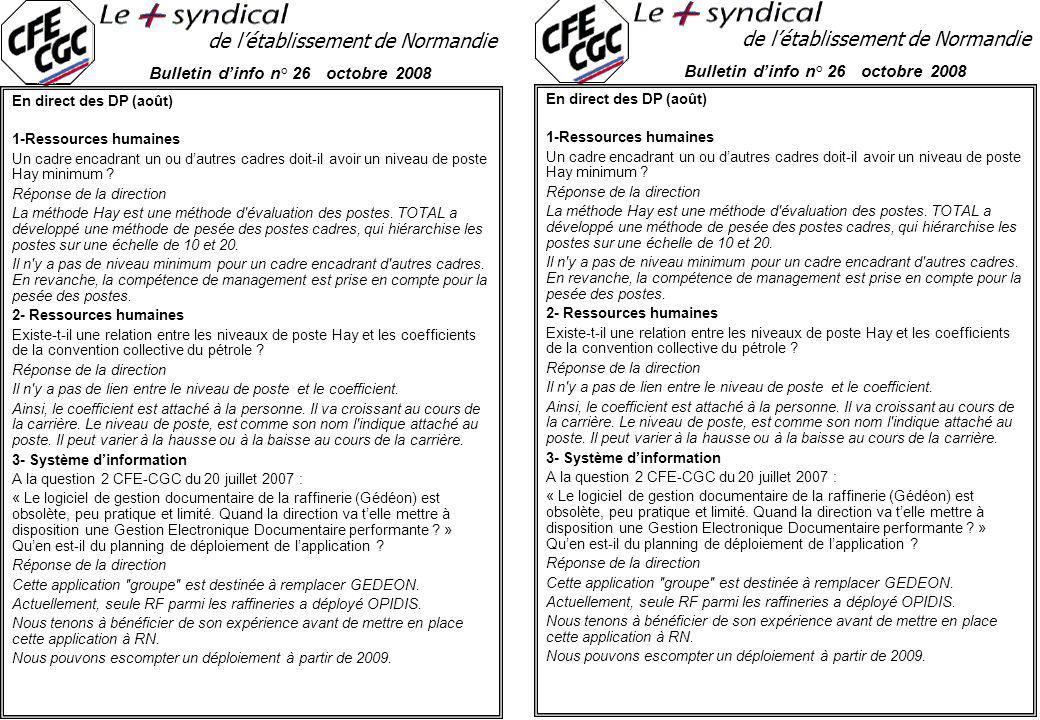 de l'établissement de Normandie Bulletin d'info n° 26 octobre 2008 En direct des DP (août) 1-Ressources humaines Un cadre encadrant un ou d'autres cadres doit-il avoir un niveau de poste Hay minimum .