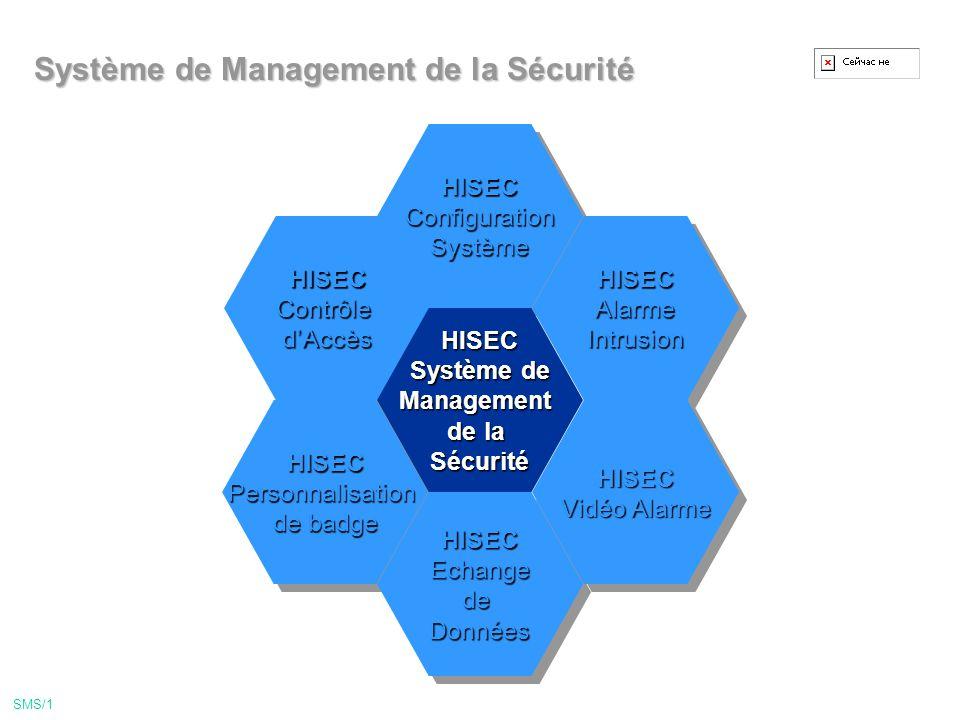Système de Management de la Sécurité SMS/1 HISECContrôled'AccèsHISECContrôled'Accès HISECPersonnalisation de badge HISECPersonnalisation HISECConfigurationSystèmeHISECConfigurationSystème HISECEchangedeDonnéesHISECEchangedeDonnées HISECAlarmeIntrusionHISECAlarmeIntrusion HISEC Vidéo Alarme HISEC HISEC Système de Management de la Sécurité