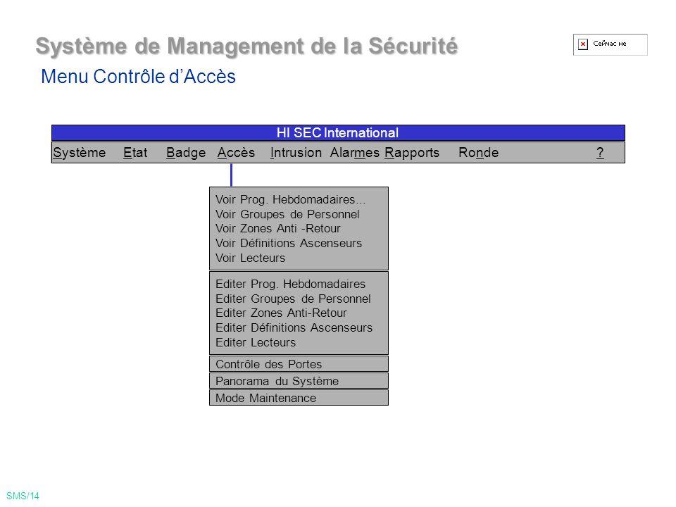Système de Management de la Sécurité Menu Badge SMS/13 Voir Badges Voir Liste des Badges voir Messages...