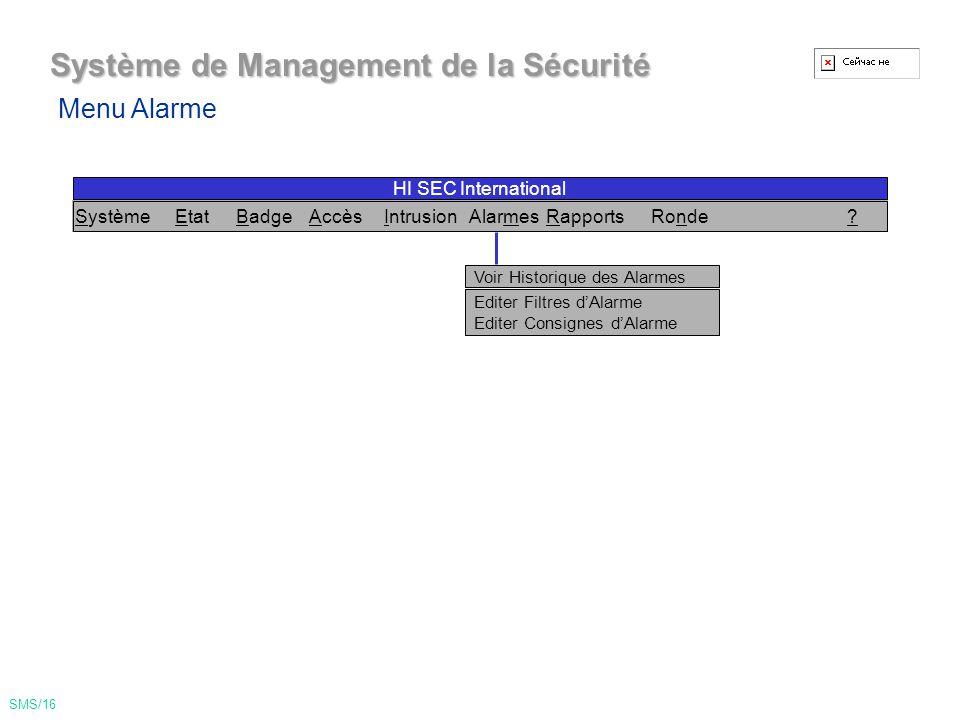 Système de Management de la Sécurité Voir Territoires Maîtres Voir Unité Centrale Voir prog.