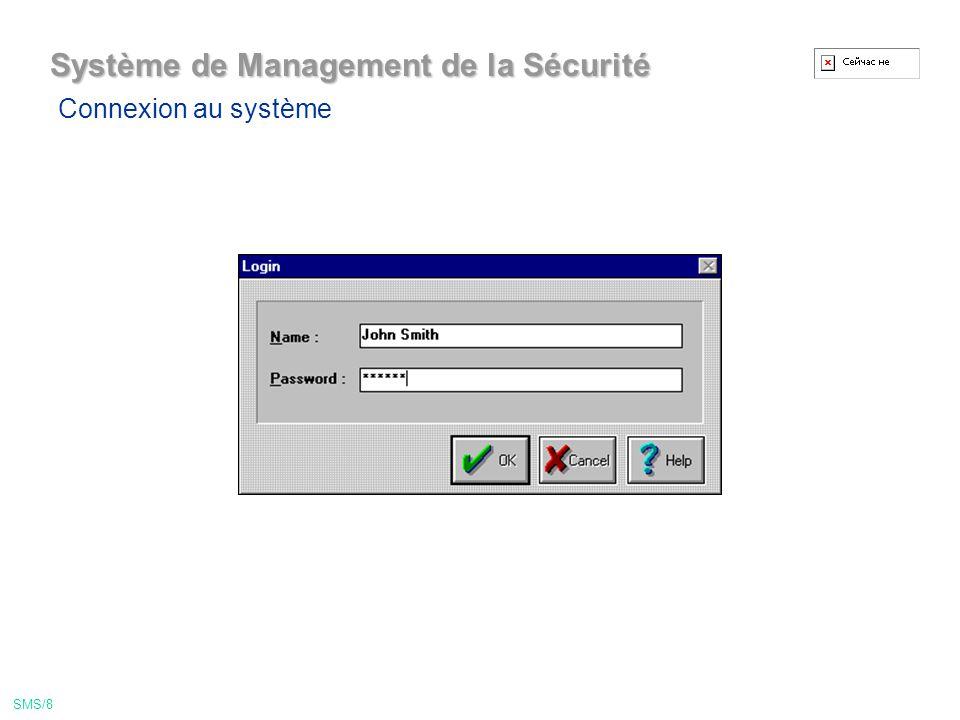 Système de Management de la Sécurité Connexion au système SMS/8