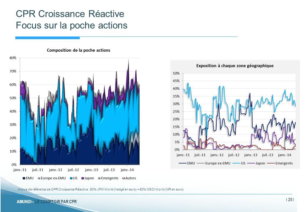 AMUNDI – LE COMPTOIR PAR CPR CPR Croissance Réactive Focus sur la poche actions Indice de référence de CPR Croissance Réactive : 50% JPM World (hedgé