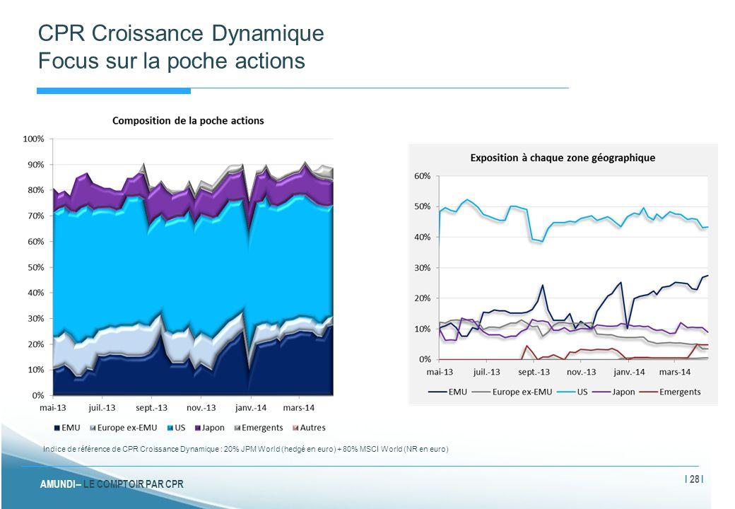 AMUNDI – LE COMPTOIR PAR CPR CPR Croissance Dynamique Focus sur la poche actions Indice de référence de CPR Croissance Dynamique : 20% JPM World (hedg