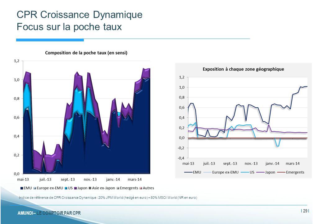 AMUNDI – LE COMPTOIR PAR CPR CPR Croissance Dynamique Focus sur la poche taux Indice de référence de CPR Croissance Dynamique : 20% JPM World (hedgé e
