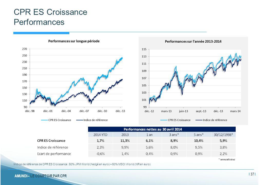 AMUNDI – LE COMPTOIR PAR CPR CPR ES Croissance Performances Indice de référence de CPR ES Croissance : 50% JPM World (hedgé en euro) + 50% MSCI World