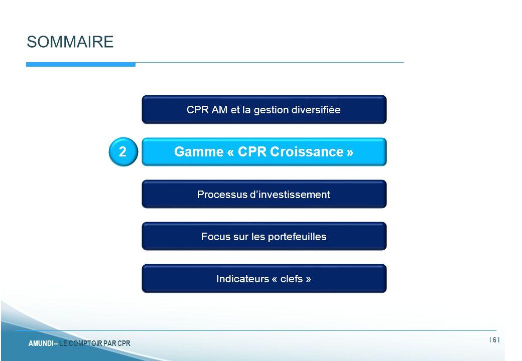 AMUNDI – LE COMPTOIR PAR CPR SOMMAIRE CPR AM et la gestion diversifiée Gamme « CPR Croissance » Processus d'investissement Focus sur les portefeuilles Indicateurs « clefs » 4 I 17 I
