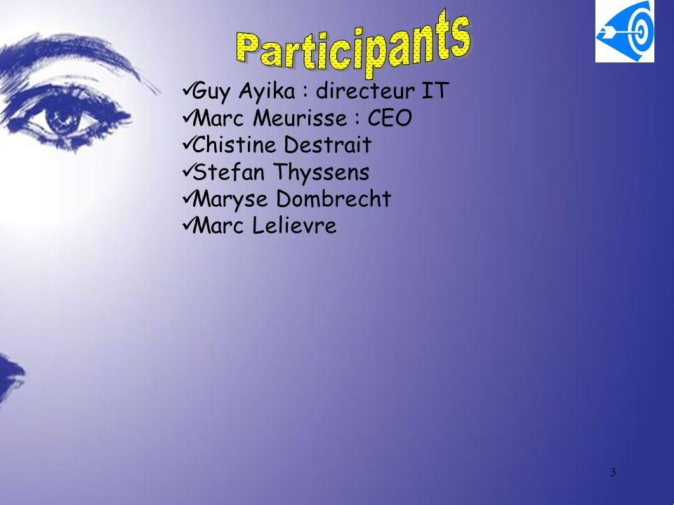 3 Guy Ayika : directeur IT Marc Meurisse : CEO Chistine Destrait Stefan Thyssens Maryse Dombrecht Marc Lelievre