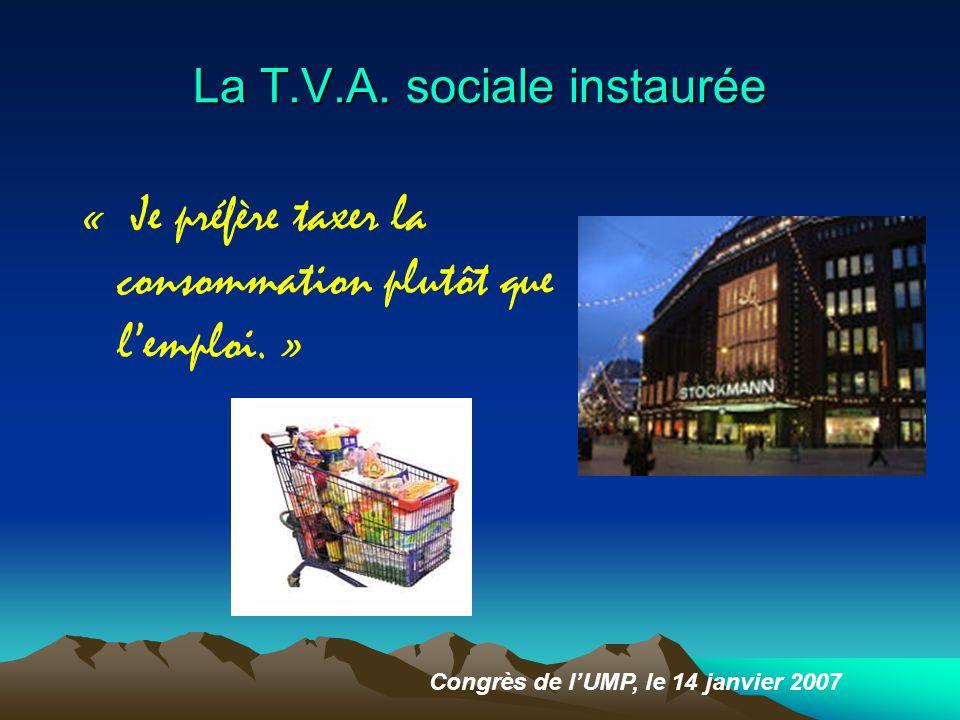 La T.V.A.sociale instaurée « Je préfère taxer la consommation plutôt que l'emploi.