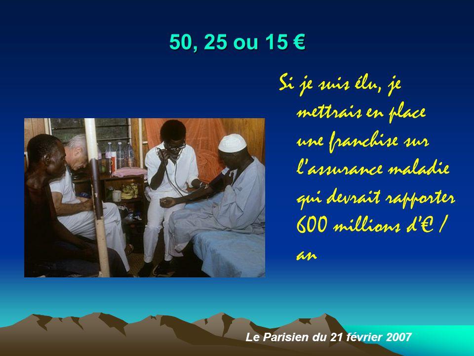 50, 25 ou 15 € Si je suis élu, je mettrais en place une franchise sur l'assurance maladie qui devrait rapporter 600 millions d'€ / an Le Parisien du 21 février 2007