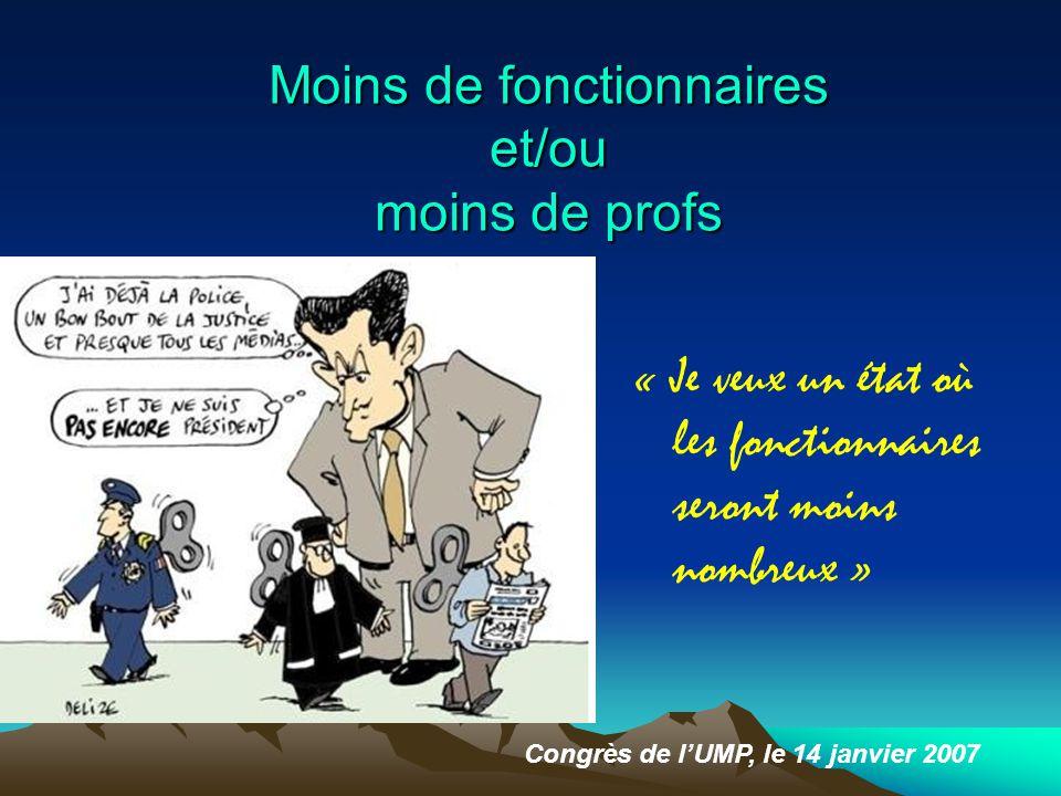 Moins de fonctionnaires et/ou moins de profs « Je veux un état où les fonctionnaires seront moins nombreux » Congrès de l'UMP, le 14 janvier 2007