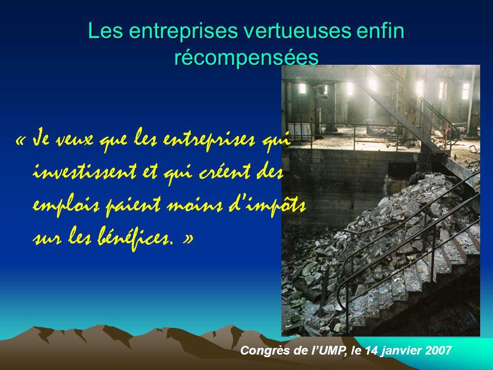 Les entreprises vertueuses enfin récompensées Congrès de l'UMP, le 14 janvier 2007 « Je veux que les entreprises qui investissent et qui créent des emplois paient moins d'impôts sur les bénéfices.