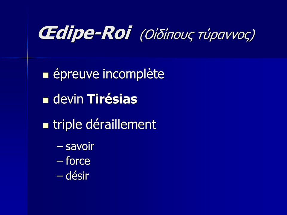 épreuve incomplète épreuve incomplète devin Tirésias devin Tirésias triple déraillement triple déraillement –savoir –force –désir Œdipe-Roi (Οἰδίπoυς