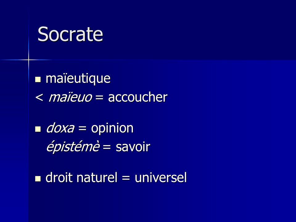 Socrate maïeutique maïeutique < maïeuo = accoucher doxa = opinion doxa = opinion épistémè = savoir droit naturel = universel droit naturel = universel