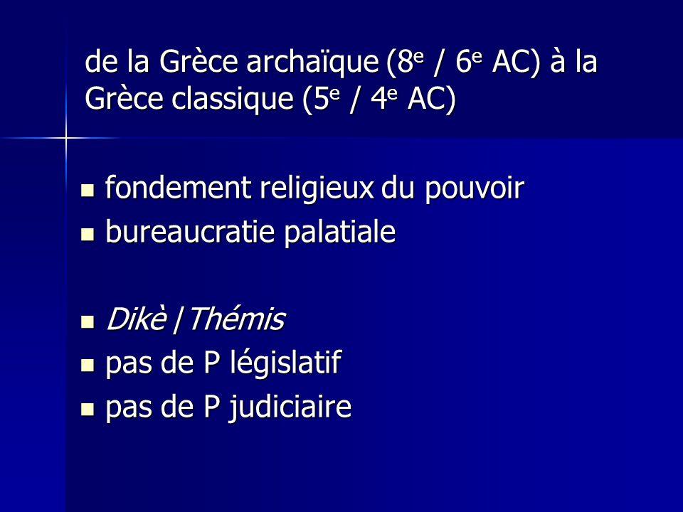 de la Grèce archaïque (8 e / 6 e AC) à la Grèce classique (5 e / 4 e AC) fondement religieux du pouvoir fondement religieux du pouvoir bureaucratie pa