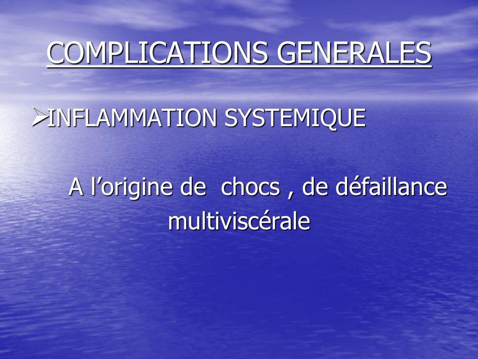 COMPLICATIONS GENERALES  INFLAMMATION SYSTEMIQUE A l'origine de chocs, de défaillance A l'origine de chocs, de défaillancemultiviscérale