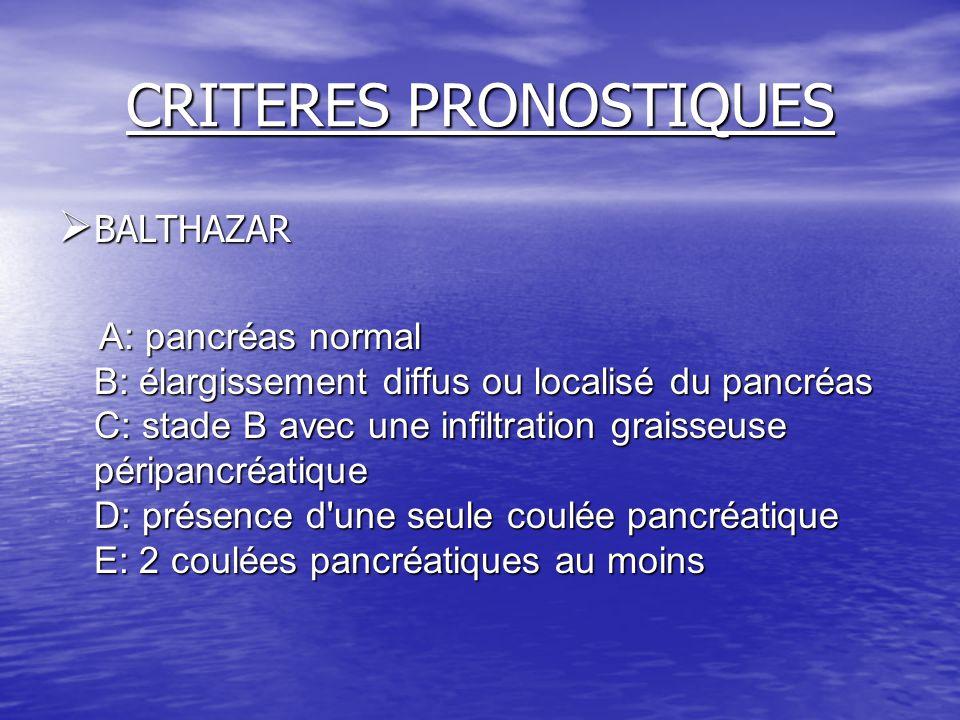 CRITERES PRONOSTIQUES  BALTHAZAR A: pancréas normal B: élargissement diffus ou localisé du pancréas C: stade B avec une infiltration graisseuse périp