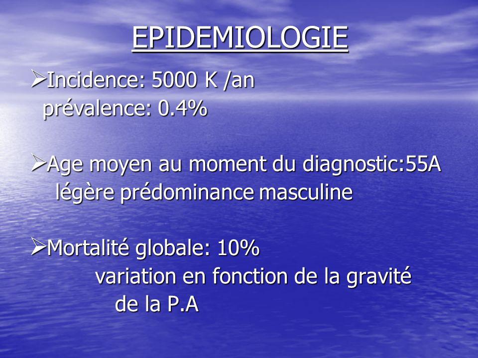 EPIDEMIOLOGIE  Incidence: 5000 K /an prévalence: 0.4% prévalence: 0.4%  Age moyen au moment du diagnostic:55A légère prédominance masculine légère p