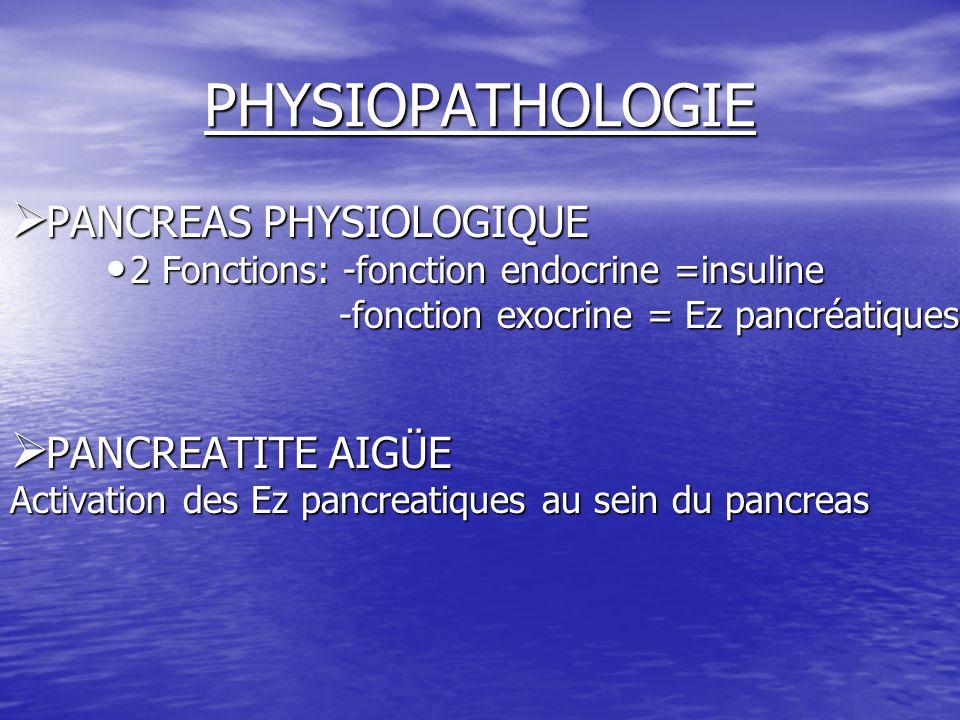 PHYSIOPATHOLOGIE  PANCREAS PHYSIOLOGIQUE 2 Fonctions: -fonction endocrine =insuline 2 Fonctions: -fonction endocrine =insuline -fonction exocrine = E