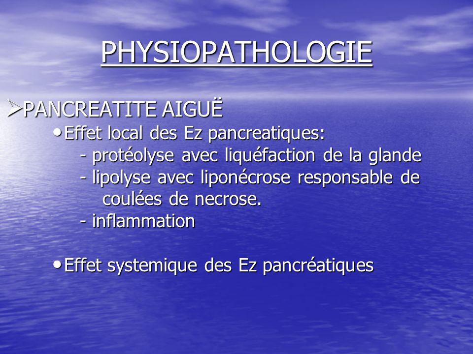 PHYSIOPATHOLOGIE  PANCREATITE AIGUË Effet local des Ez pancreatiques: Effet local des Ez pancreatiques: - protéolyse avec liquéfaction de la glande -