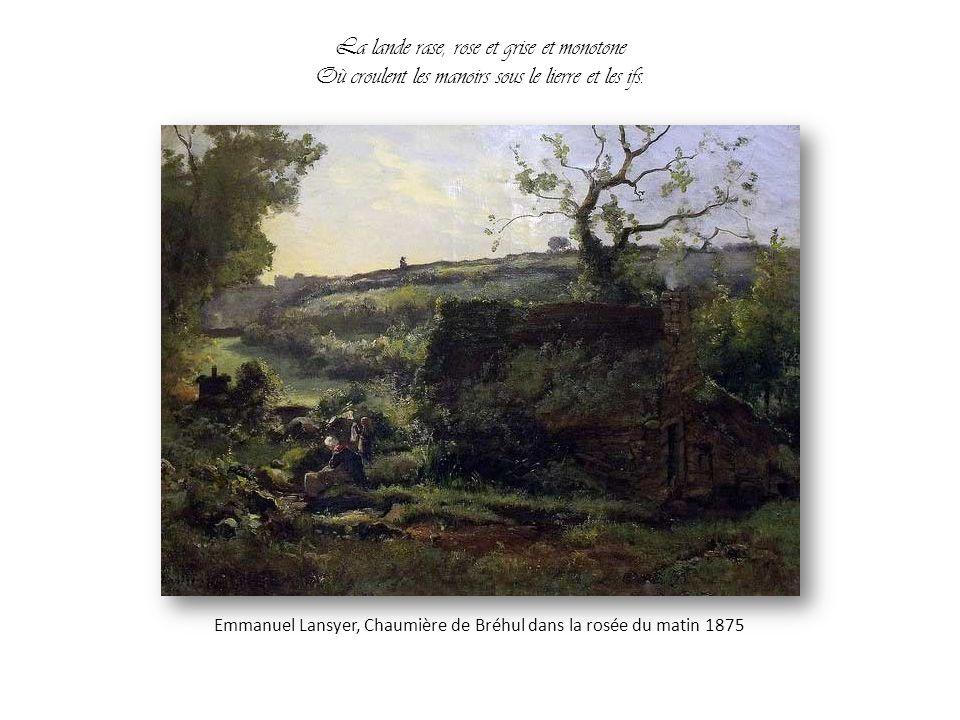 Il a compris la race antique aux yeux pensifs Qui foule le sol dur de la terre bretonne, Emmanuel Lansyer, Femmes à la fontaine (Souvenir du Finistère