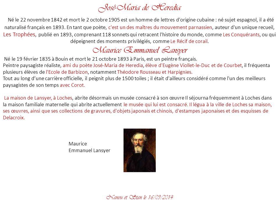 José-Maria de Heredia Né le 22 novembre 1842 et mort le 2 octobre 1905 est un homme de lettres d origine cubaine : né sujet espagnol, il a été naturalisé français en 1893.