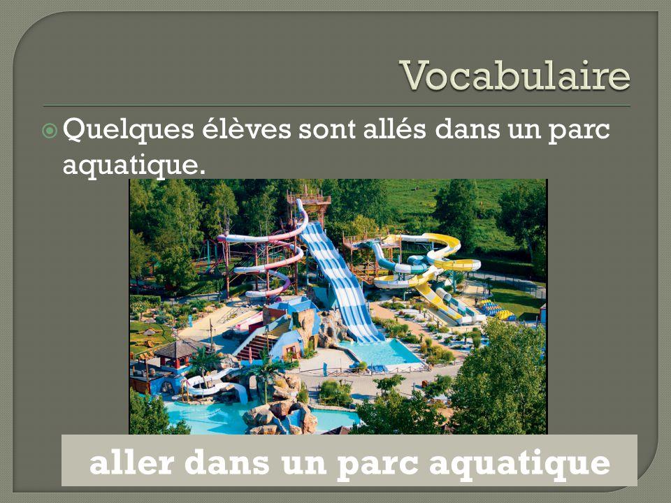  Quelques élèves sont allés dans un parc aquatique. aller dans un parc aquatique