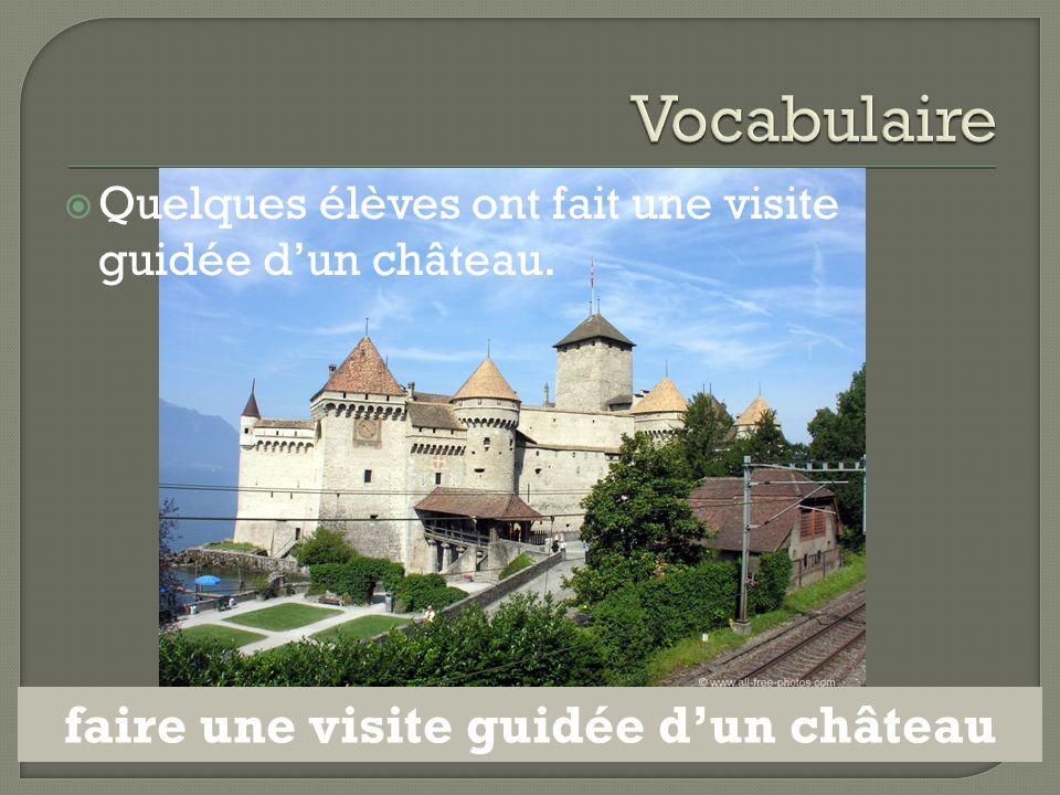  Quelques élèves ont fait une visite guidée d'un château. faire une visite guidée d'un château