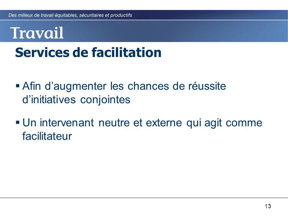 13 Services de facilitation  Afin d'augmenter les chances de réussite d'initiatives conjointes  Un intervenant neutre et externe qui agit comme faci