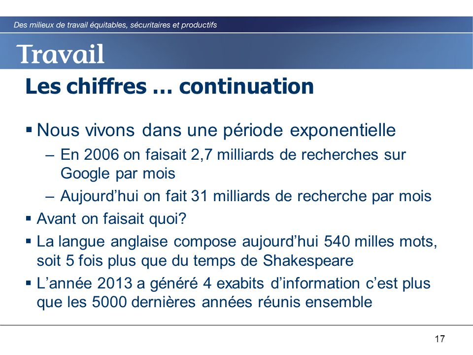 17 Les chiffres … continuation  Nous vivons dans une période exponentielle –En 2006 on faisait 2,7 milliards de recherches sur Google par mois –Aujou