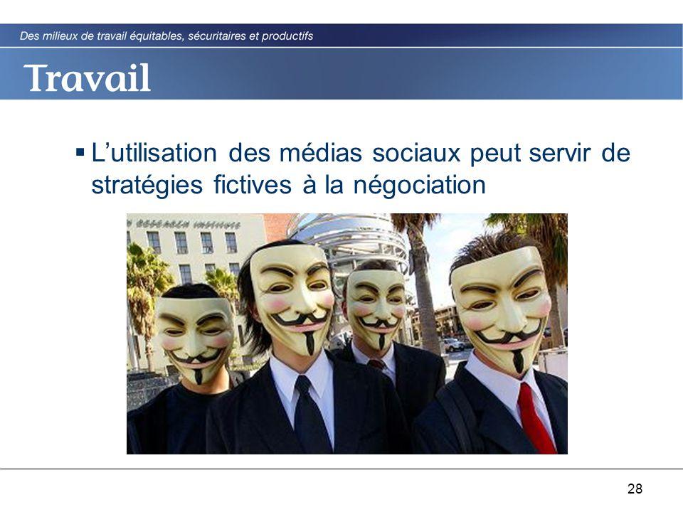 28  L'utilisation des médias sociaux peut servir de stratégies fictives à la négociation