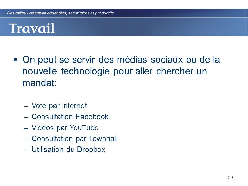 33  On peut se servir des médias sociaux ou de la nouvelle technologie pour aller chercher un mandat: –Vote par internet –Consultation Facebook –Vidéos par YouTube –Consultation par Townhall –Utilisation du Dropbox