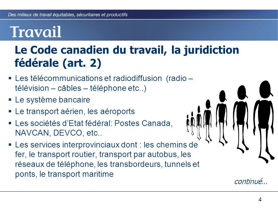 4 Le Code canadien du travail, la juridiction fédérale (art. 2)  Les télécommunications et radiodiffusion (radio – télévision – câbles – téléphone et