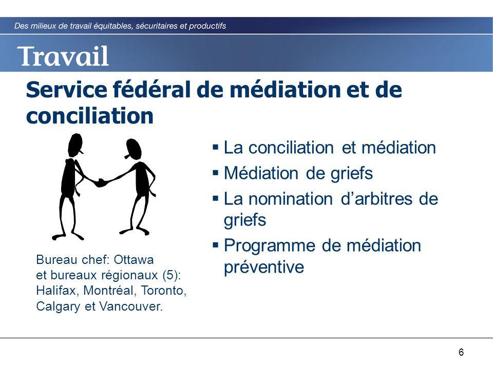 6 Service fédéral de médiation et de conciliation  La conciliation et médiation  Médiation de griefs  La nomination d'arbitres de griefs  Programme de médiation préventive Bureau chef: Ottawa et bureaux régionaux (5): Halifax, Montréal, Toronto, Calgary et Vancouver.