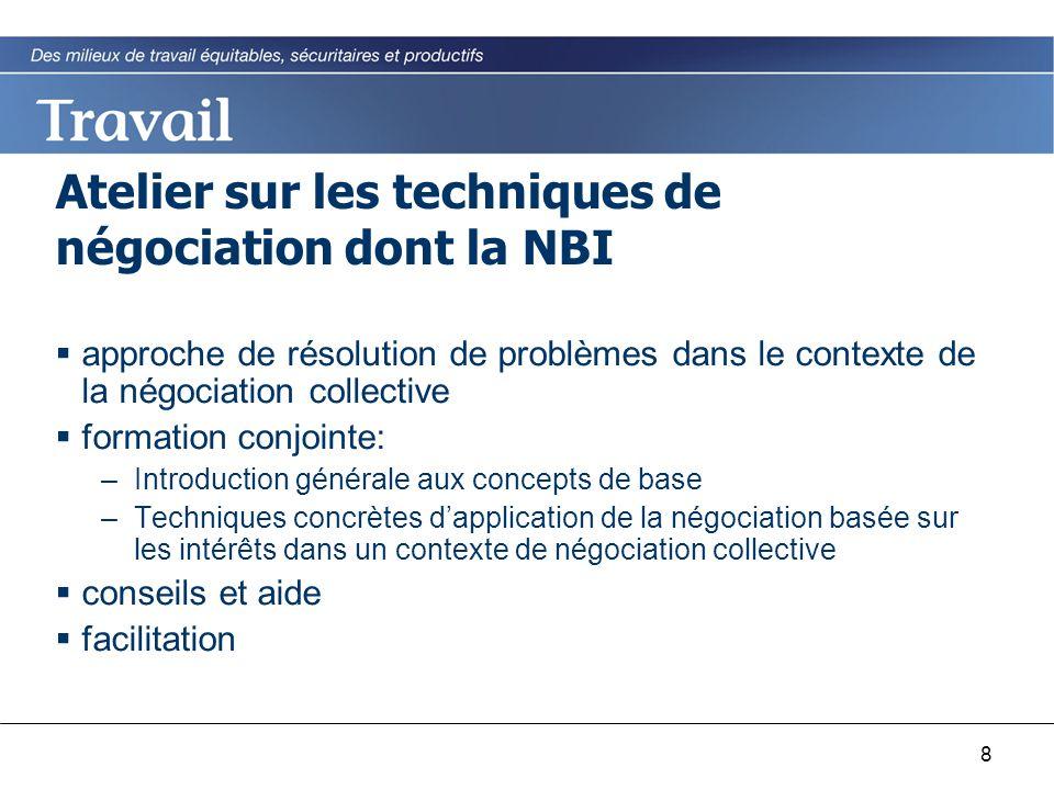 8 Atelier sur les techniques de négociation dont la NBI  approche de résolution de problèmes dans le contexte de la négociation collective  formatio