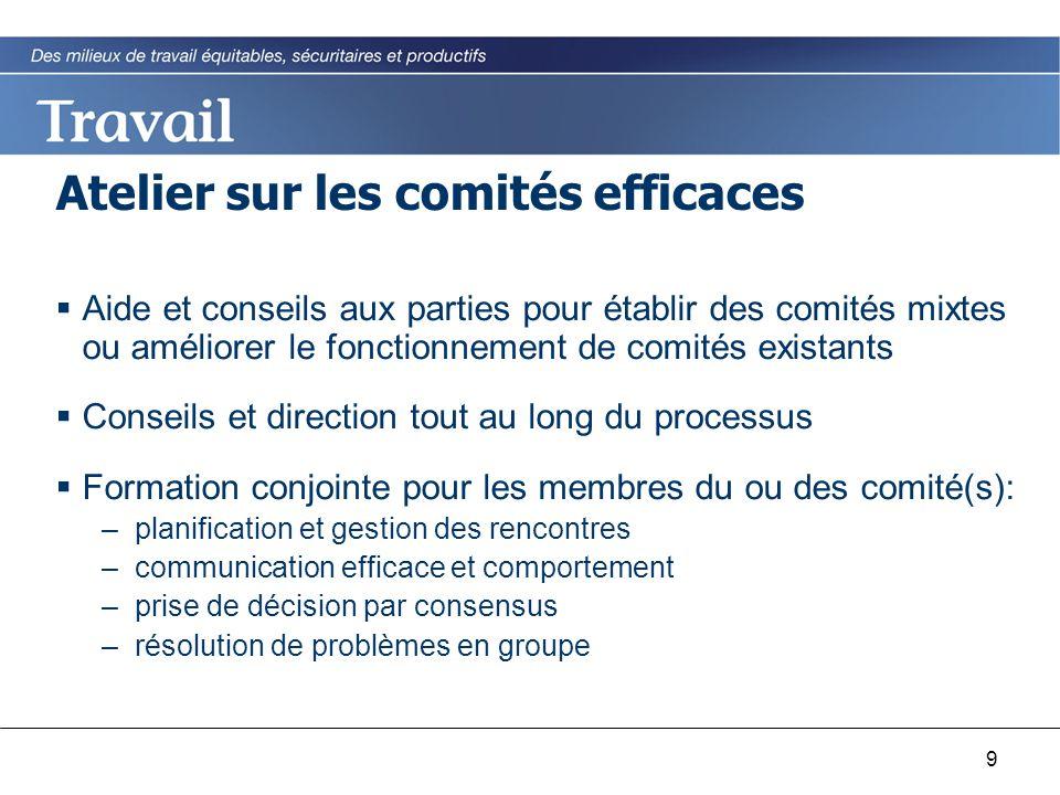 9 Atelier sur les comités efficaces  Aide et conseils aux parties pour établir des comités mixtes ou améliorer le fonctionnement de comités existants