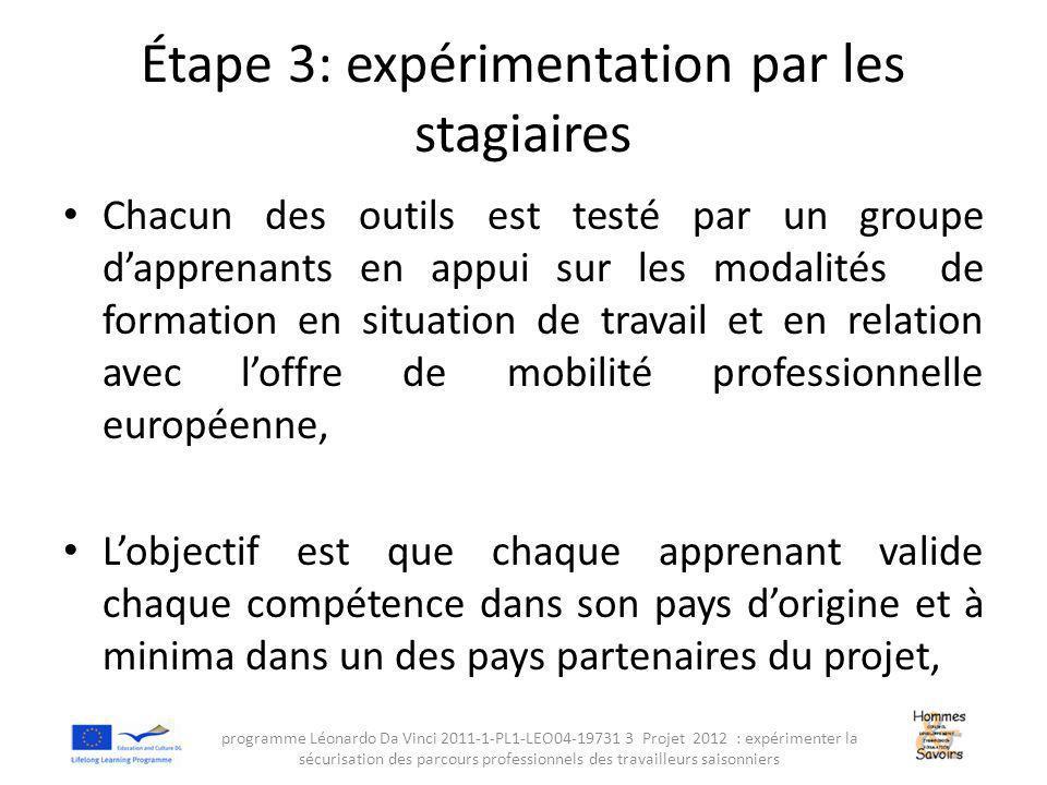 Étape 3: expérimentation par les stagiaires Chacun des outils est testé par un groupe d'apprenants en appui sur les modalités de formation en situation de travail et en relation avec l'offre de mobilité professionnelle européenne, L'objectif est que chaque apprenant valide chaque compétence dans son pays d'origine et à minima dans un des pays partenaires du projet, programme Léonardo Da Vinci 2011-1-PL1-LEO04-19731 3 Projet 2012 : expérimenter la sécurisation des parcours professionnels des travailleurs saisonniers