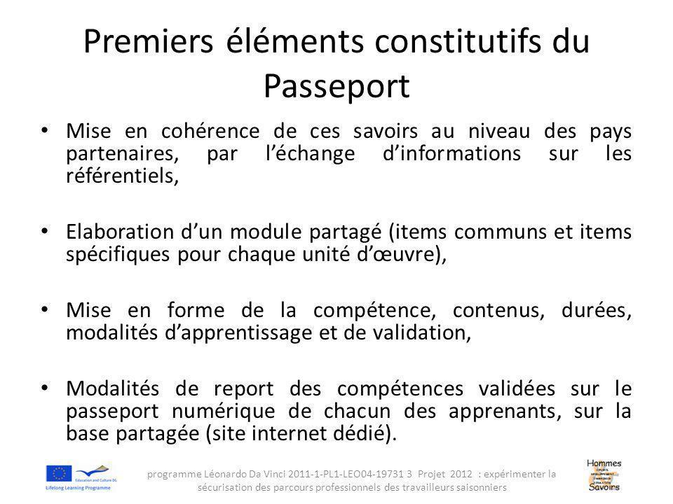 Premiers éléments constitutifs du Passeport Mise en cohérence de ces savoirs au niveau des pays partenaires, par l'échange d'informations sur les référentiels, Elaboration d'un module partagé (items communs et items spécifiques pour chaque unité d'œuvre), Mise en forme de la compétence, contenus, durées, modalités d'apprentissage et de validation, Modalités de report des compétences validées sur le passeport numérique de chacun des apprenants, sur la base partagée (site internet dédié).