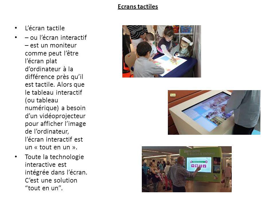 Ecrans tactiles L'écran tactile – ou l'écran interactif – est un moniteur comme peut l'être l'écran plat d'ordinateur à la différence près qu'il est tactile.