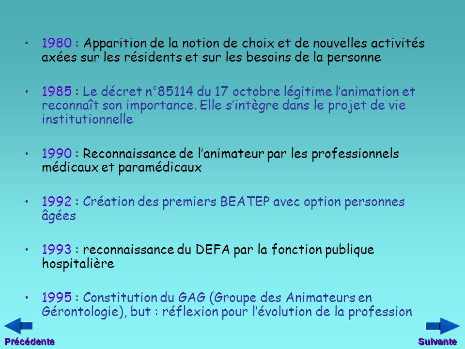 1980 : Apparition de la notion de choix et de nouvelles activités axées sur les résidents et sur les besoins de la personne 1985 : Le décret n°85114 d