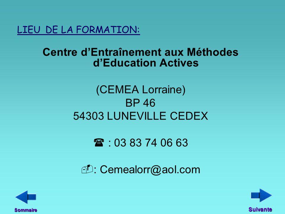 LIEU DE LA FORMATION: Centre d'Entraînement aux Méthodes d'Education Actives (CEMEA Lorraine) BP 46 54303 LUNEVILLE CEDEX  : 03 83 74 06 63  : Cemea