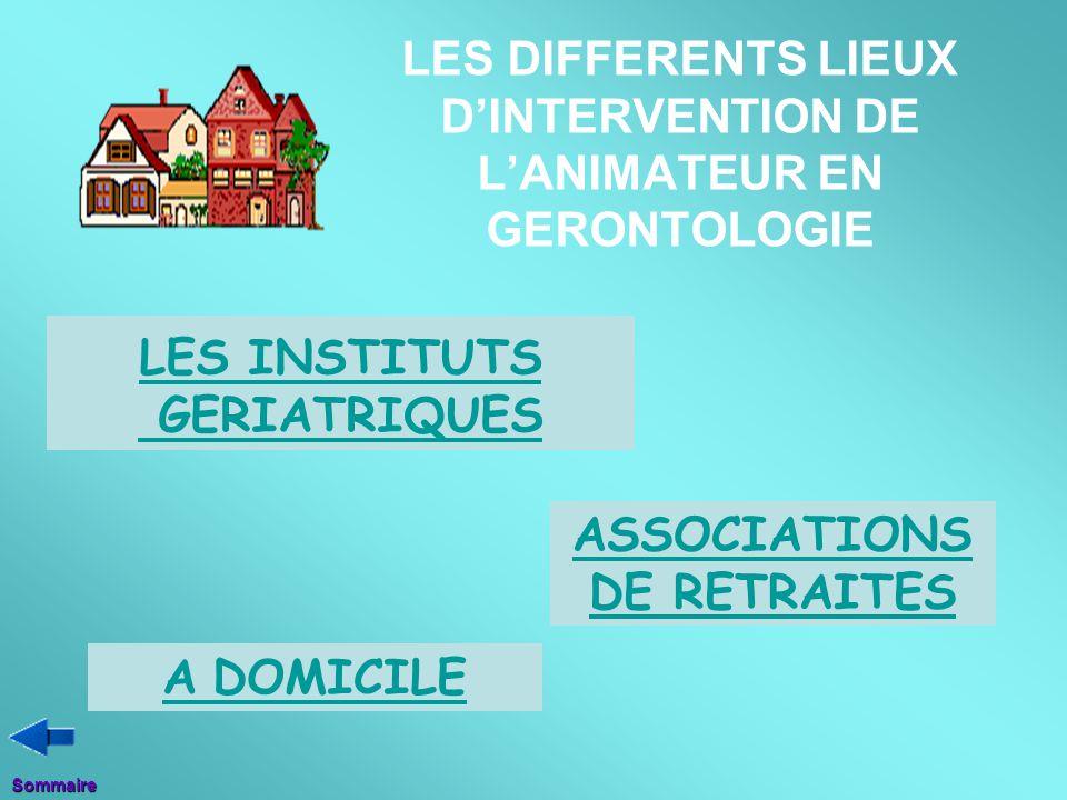 LES DIFFERENTS LIEUX D'INTERVENTION DE L'ANIMATEUR EN GERONTOLOGIE LES INSTITUTS GERIATRIQUES ASSOCIATIONS DE RETRAITES A DOMICILESommaire