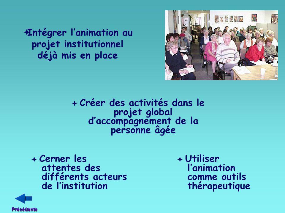  Intégrer l'animation au projet institutionnel déjà mis en place  Créer des activités dans le projet global d'accompagnement de la personne âgée  U